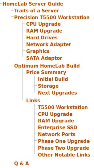 HomeLab Server page outline