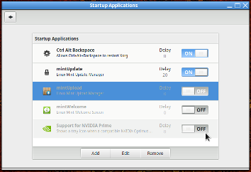 Cinnamon's Managing Startup Applications window