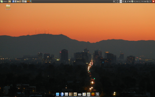 Screenshot of a desktop with a custom background image